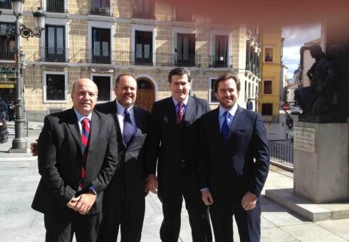 MADRID: a la salida del Consejo de Estado Español luego de la entrevista con R. Zapatero.